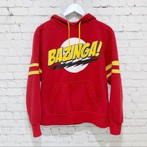 Big Bang Theory Bazinga Hoodie Red and Yellow M